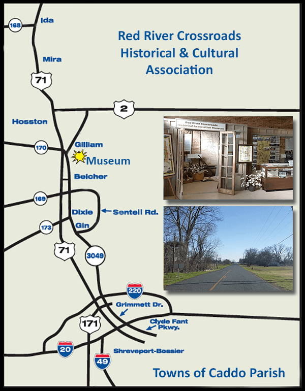 Map to the History Museum in Gilliam Louisiana